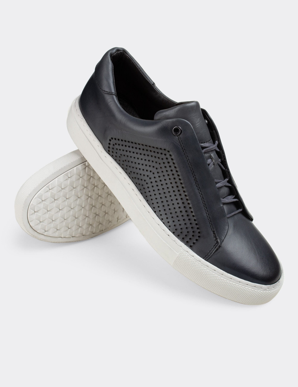 Hakiki Deri Gri Sneaker Erkek Ayakkabı - 01834MGRIC01