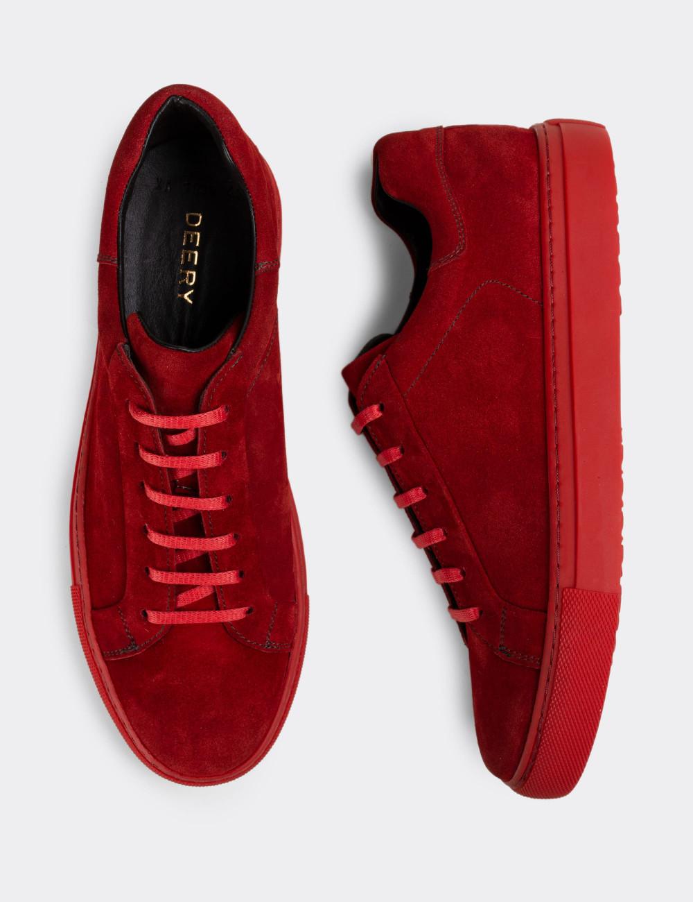 Hakiki Süet Kırmızı Sneaker Erkek Ayakkabı - 01829MKRMC01