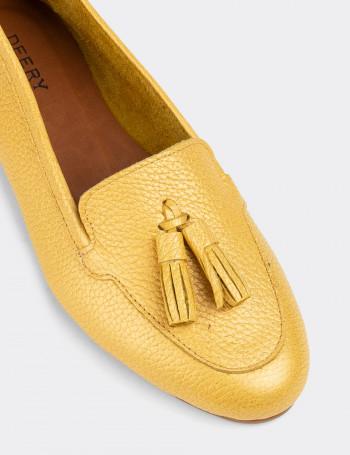 Hakiki Deri Sarı Kadın Babet