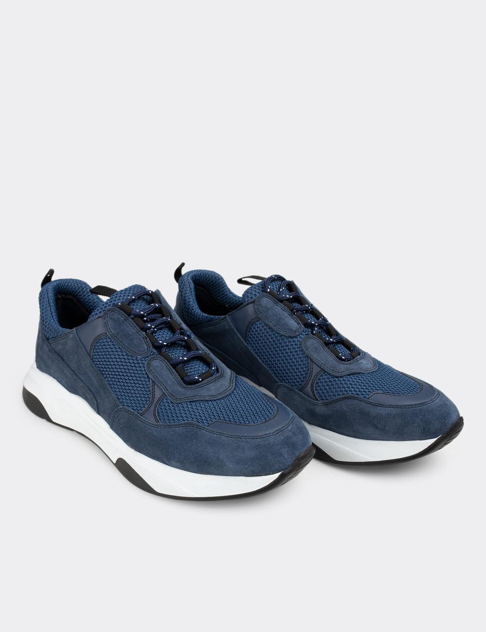 Hakiki Süet Mavi Sneaker Erkek Ayakkabı - 01724MMVIE01