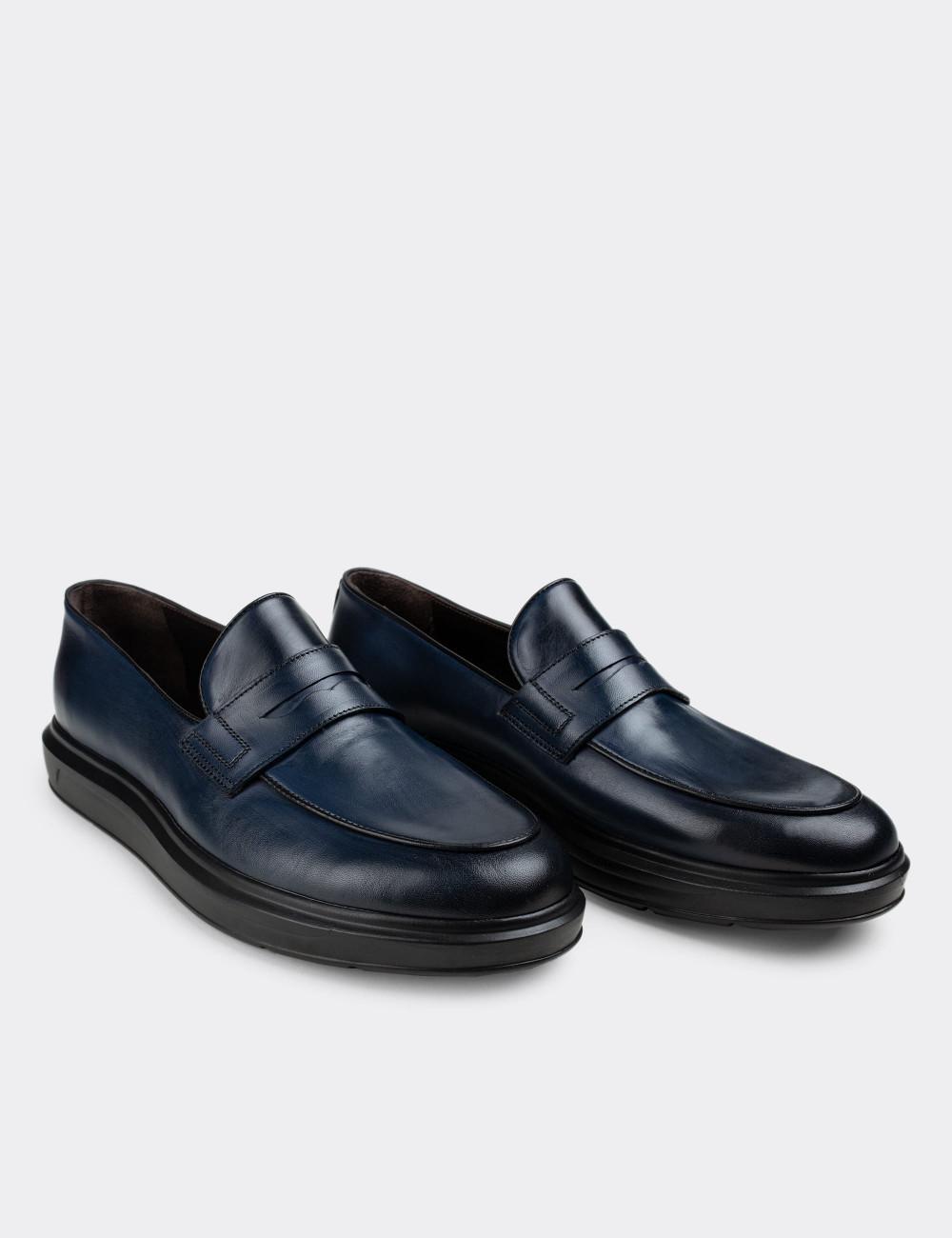 Hakiki Deri Mavi Loafer Erkek Ayakkabı - 01839MMVIP01