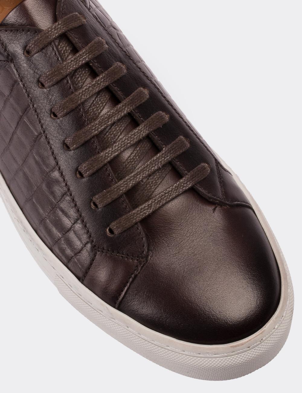 Hakiki Deri Kroko Kahverengi Erkek Sneaker - 01641MKHVC03