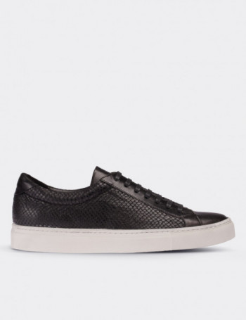 Hakiki Deri Kroko Siyah Erkek Sneaker