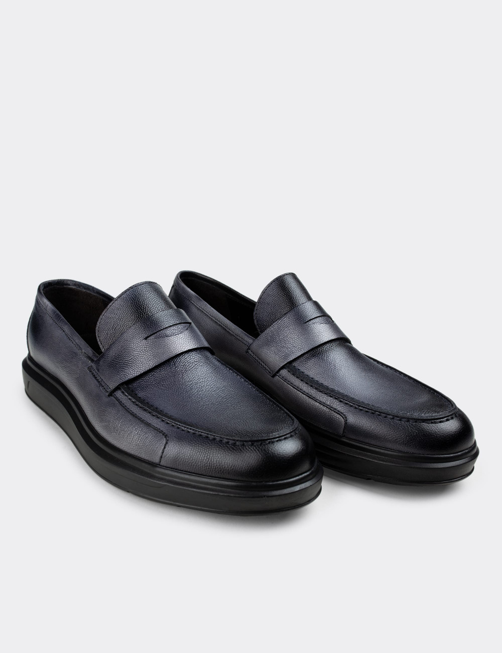 Hakiki Deri Gri Comfort Erkek Loafer - 01564MGRIP12