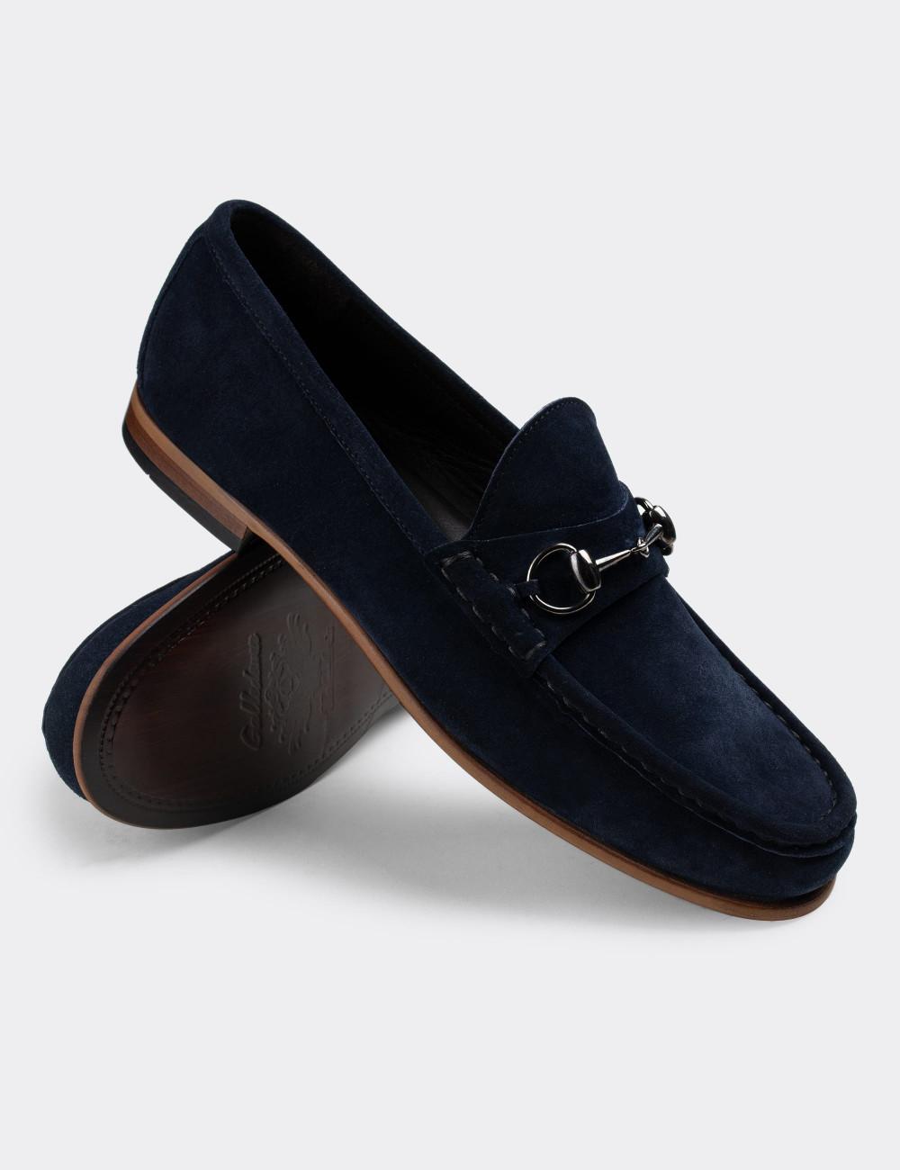 Hakiki Süet Lacivert Loafer Erkek Ayakkabı - 01649MLCVC05