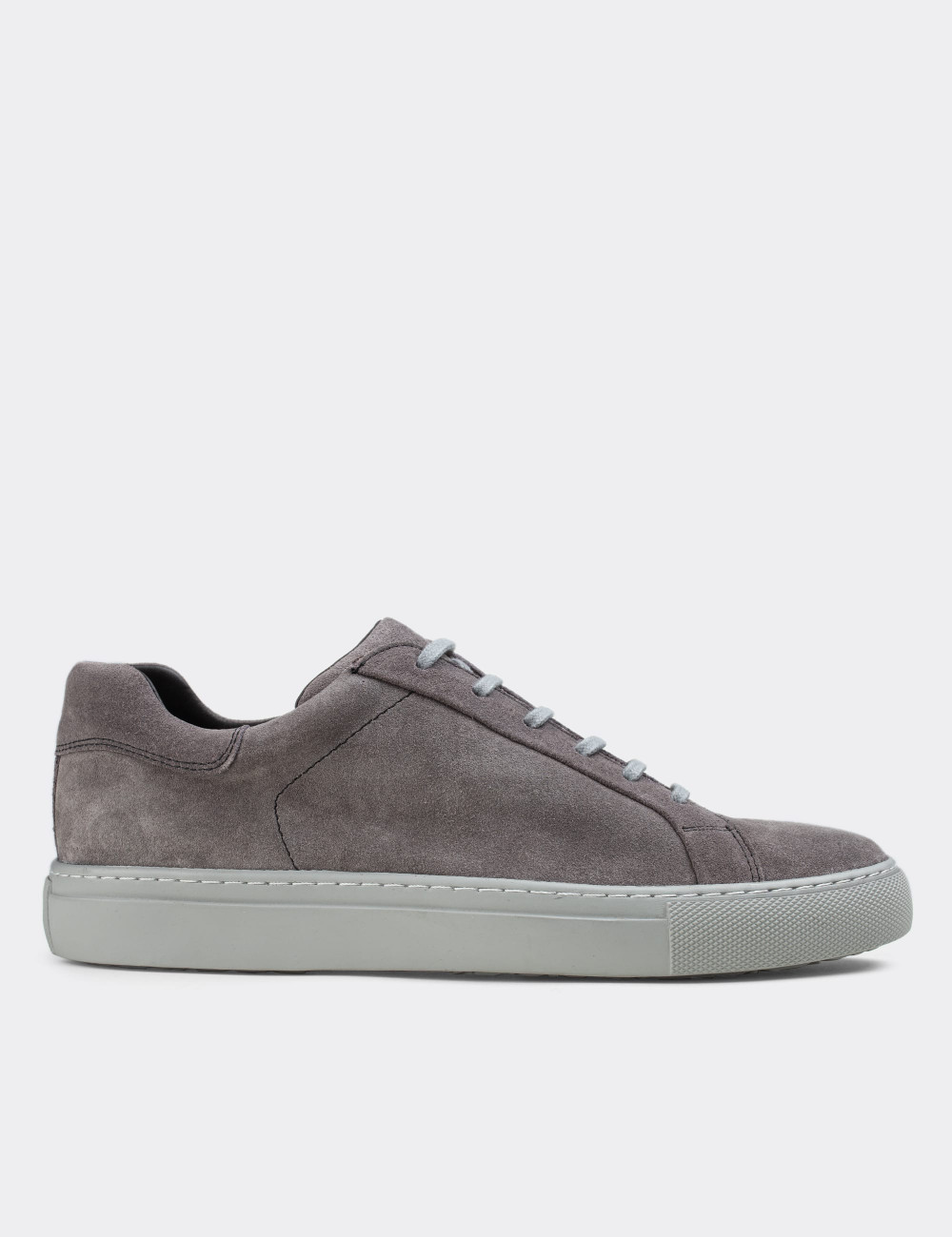 Hakiki Süet Gri Sneaker Erkek Ayakkabı - 01829MGRIC01