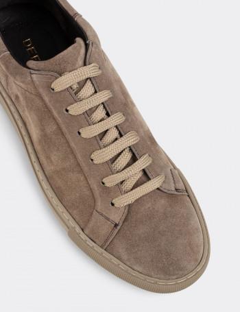 Hakiki Süet Vizon Rengi Sneaker Erkek Ayakkabı