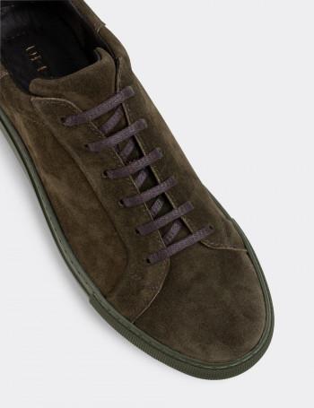 Hakiki Süet Haki Sneaker Erkek Ayakkabı