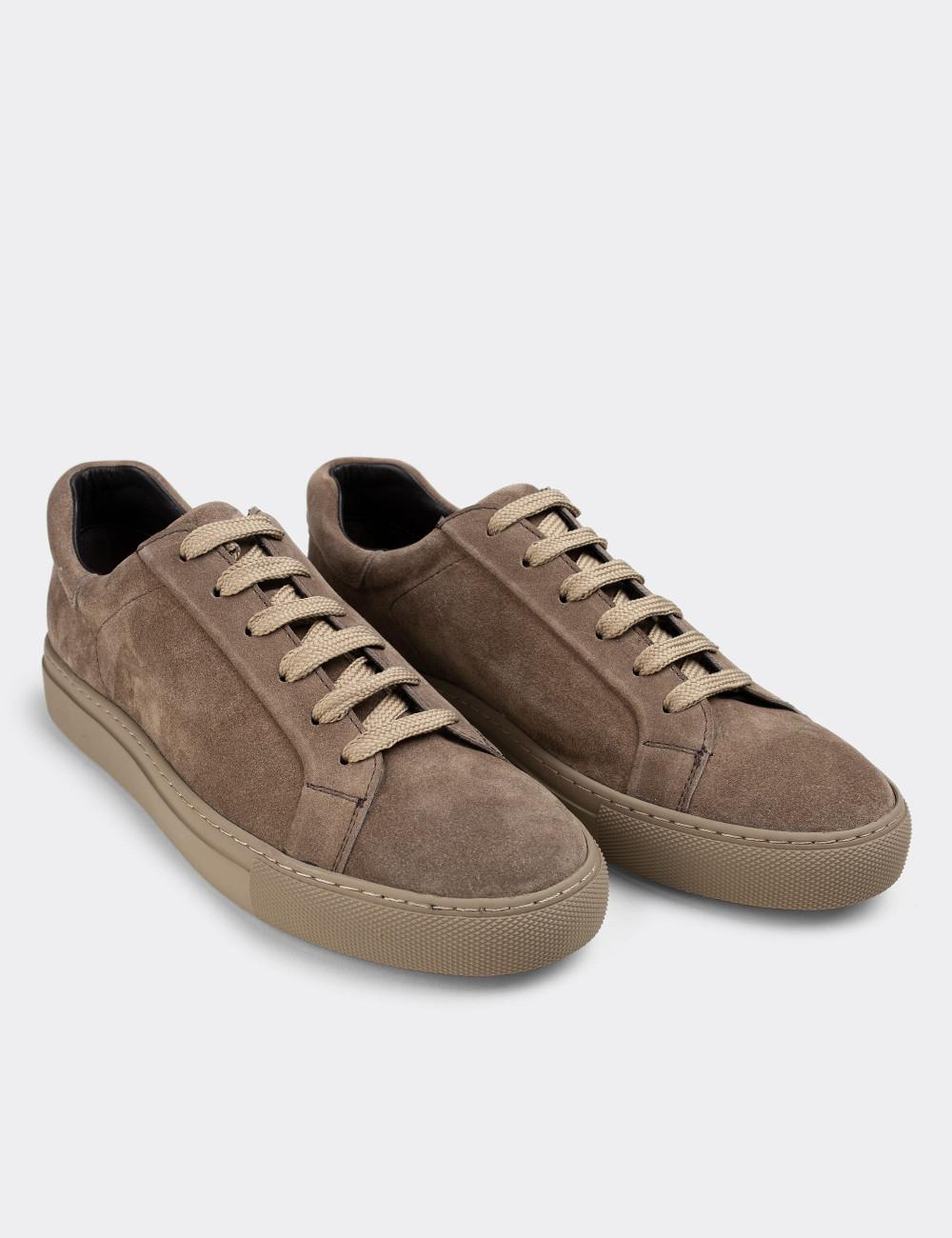 Hakiki Süet Vizon Rengi Sneaker Erkek Ayakkabı - 01829MVZNC01