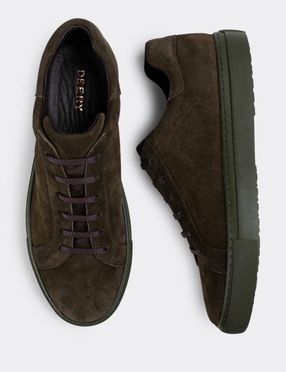 Hakiki Süet Haki Sneaker Erkek Ayakkabı - 01829MHAKC01