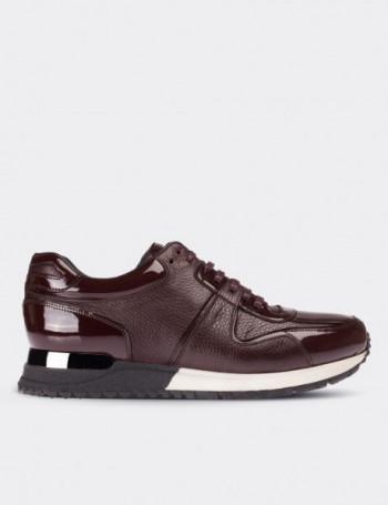 Hakiki Deri Bordo Spor Erkek Ayakkabı