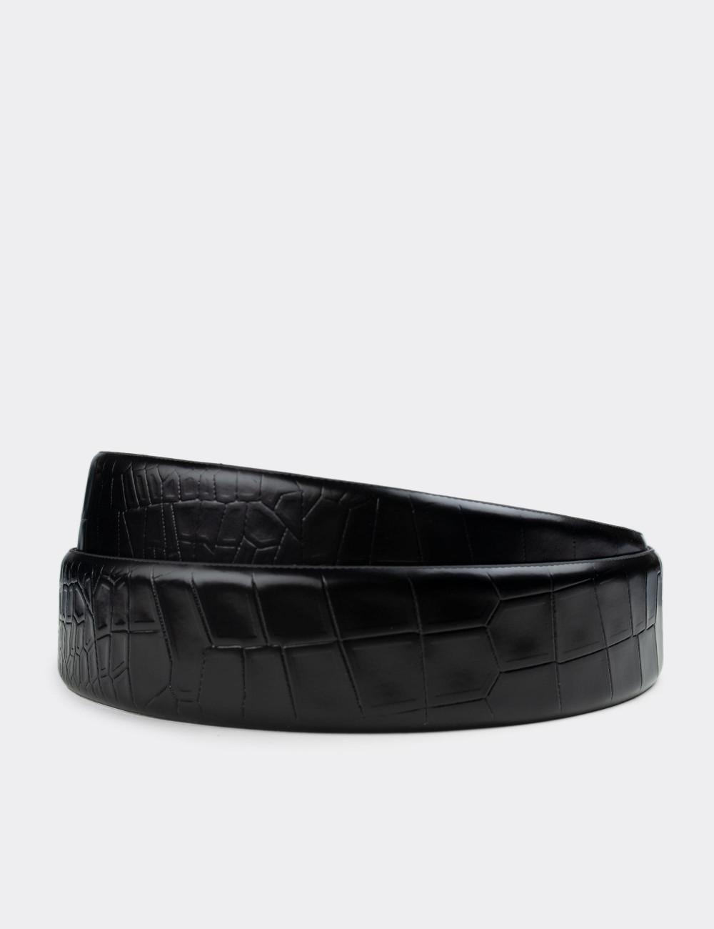Hakiki Deri Siyah Kroko Erkek Kemer - K0103MSYHW01