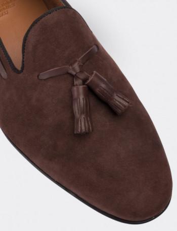 Hakiki Nubuk Deri Kahverengi Püsküllü Erkek Loafer