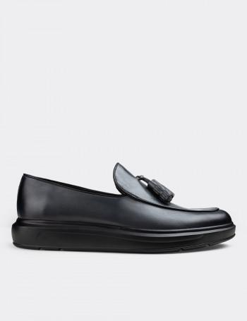 Hakiki Deri Gri Püsküllü Erkek Loafer