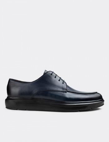 Hakiki Deri Mavi Günlük Comfort Erkek Ayakkabı