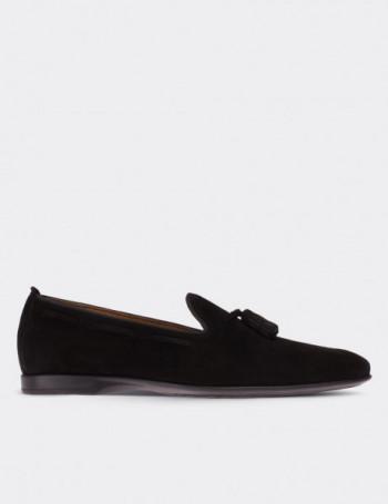 Hakiki Süet Püsküllü Siyah Erkek Loafer