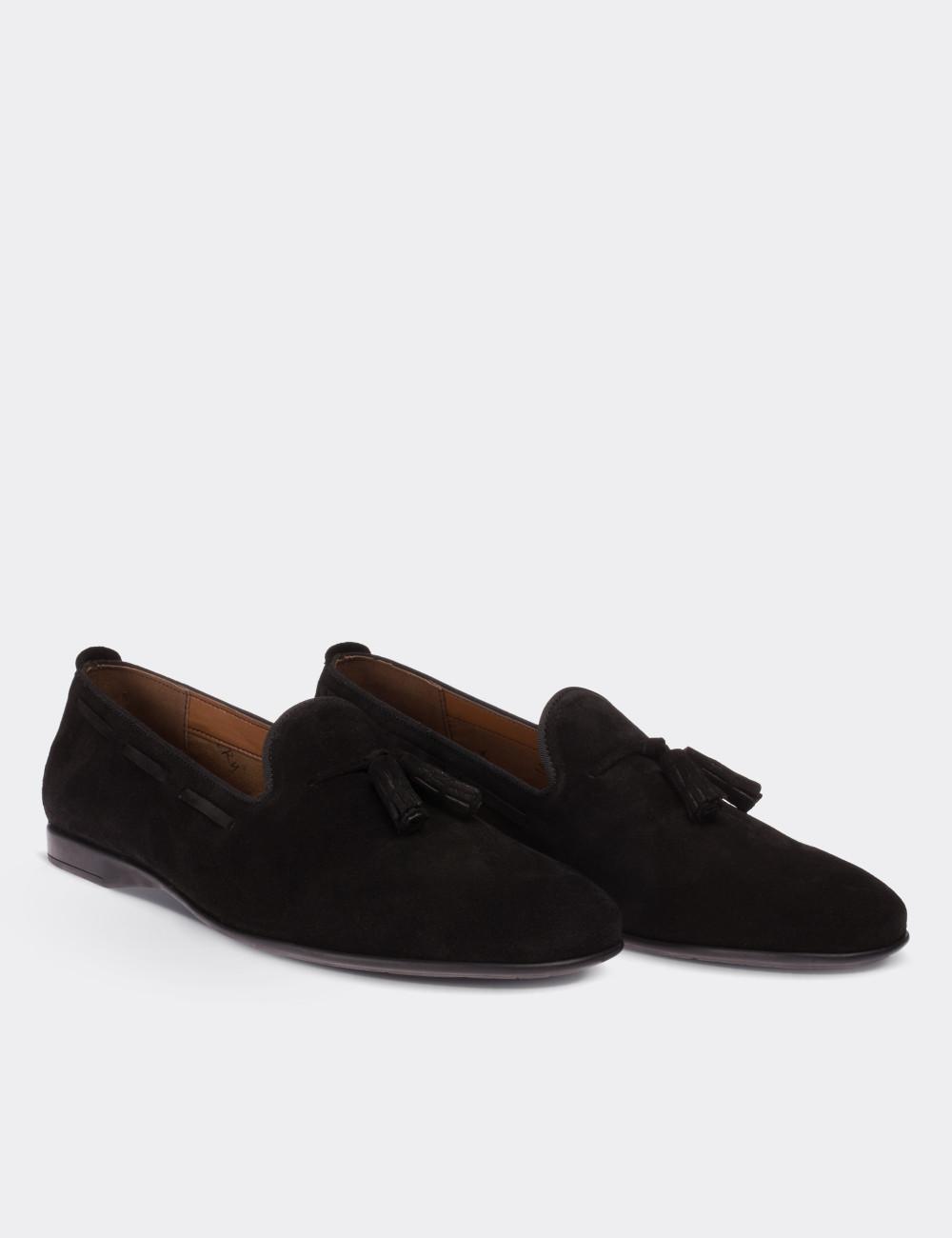 Hakiki Süet Püsküllü Siyah Erkek Loafer - 01643MSYHC01