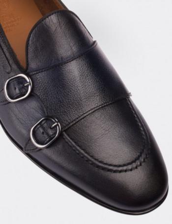 Hakiki Deri Lacivert Çift Tokalı Erkek Loafer