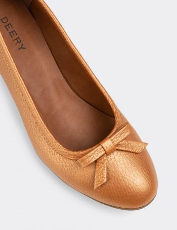 Hakiki Deri Bakır Rengi Günlük Kadın Ayakkabı