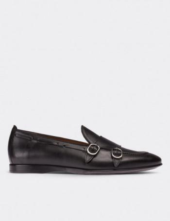 Hakiki Deri Siyah Çift Tokalı Erkek Ayakkabı