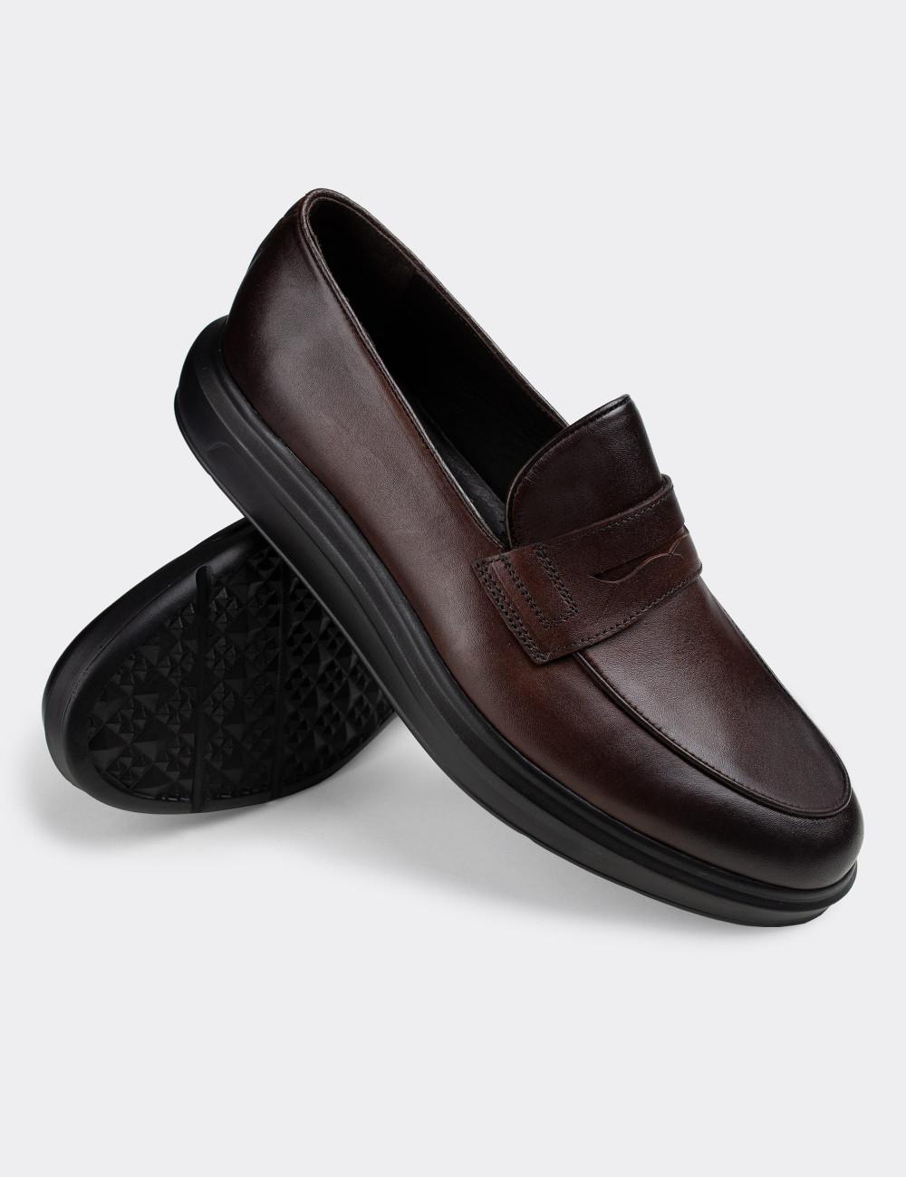 Hakiki Deri Kahverengi Loafer Erkek Ayakkabı - 01839MKHVP01
