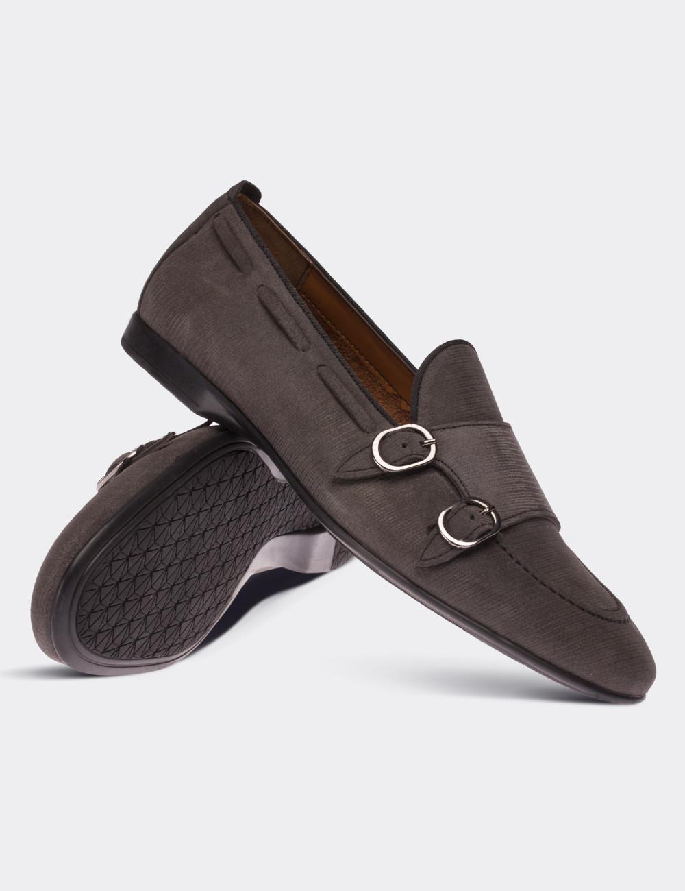 Hakiki Nubuk Vizon Rengi Çift Tokalı Erkek Ayakkabı - 01645MVZNC01