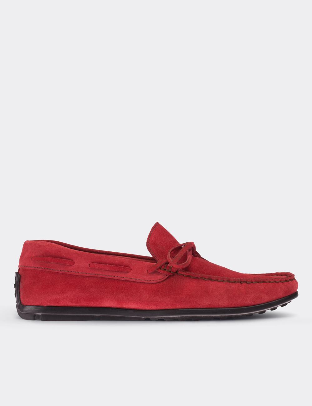 Hakiki Süet Kırmızı Loafer Erkek Ayakkabı - 01647MKRMC01