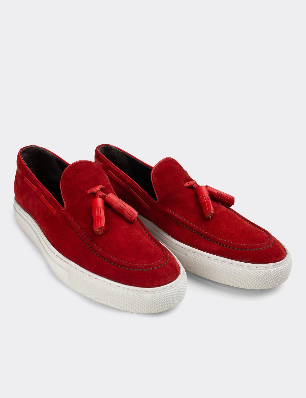Hakiki Süet Kırmızı Püsküllü Erkek Sneaker - 01836MKRMC01