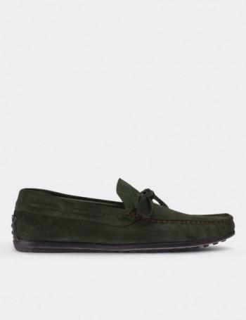 Hakiki Süet Yeşil Loafer Erkek Ayakkabı