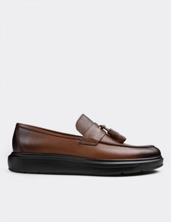 Hakiki Deri Taba Rengi Loafer Erkek Ayakkabı