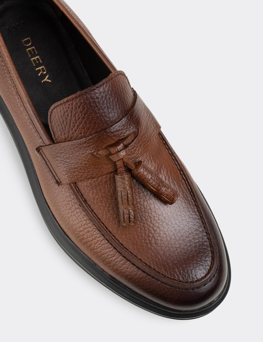 Hakiki Deri Taba Rengi Loafer Erkek Ayakkabı - 01587MTBAP05