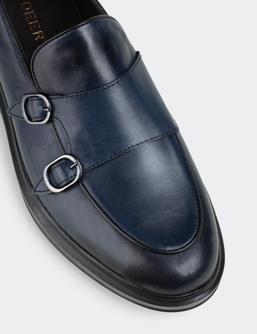 Hakiki Deri Mavi Çift Tokalı Comfort Erkek Loafer - 01843MMVIP01