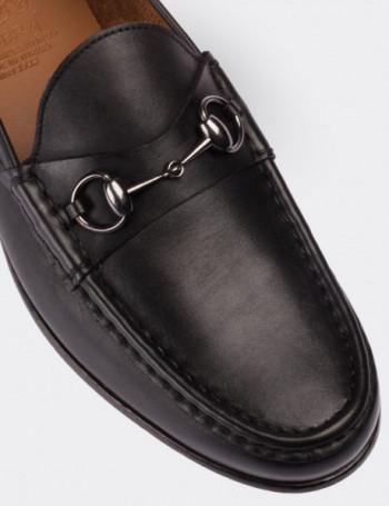 Hakiki Deri Siyah Tokalı Erkek Loafer