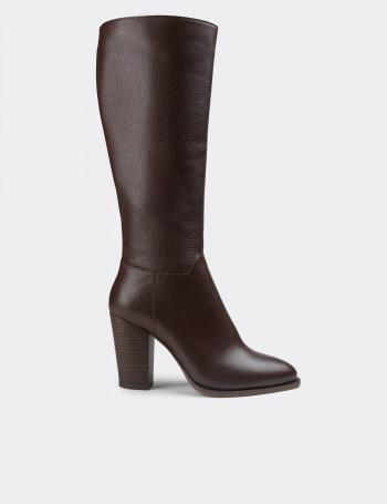 Hakiki Deri Kahverengi Kadın Çizme