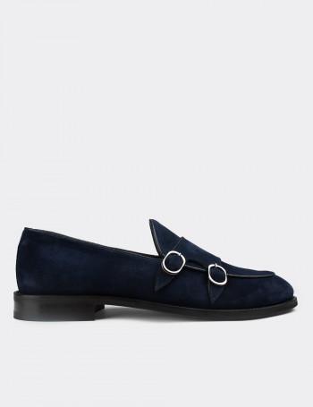 Hakiki Süet Deri Mavi Çift Tokalı Klasik Erkek Loafer