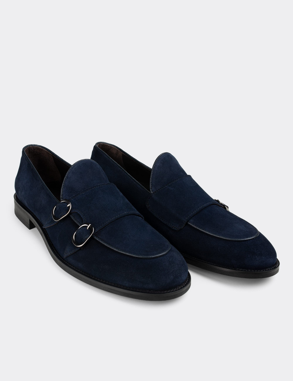 Hakiki Süet Deri Mavi Çift Tokalı Klasik Erkek Loafer - 01844MMVIN01