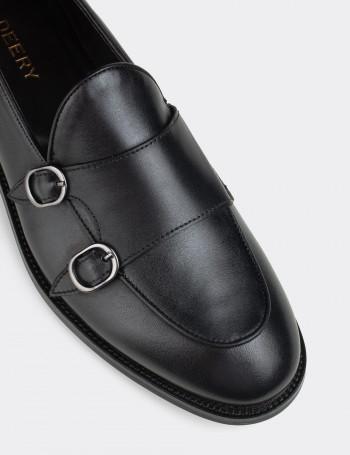 Hakiki Deri Siyah Çift Tokalı Klasik Erkek Loafer