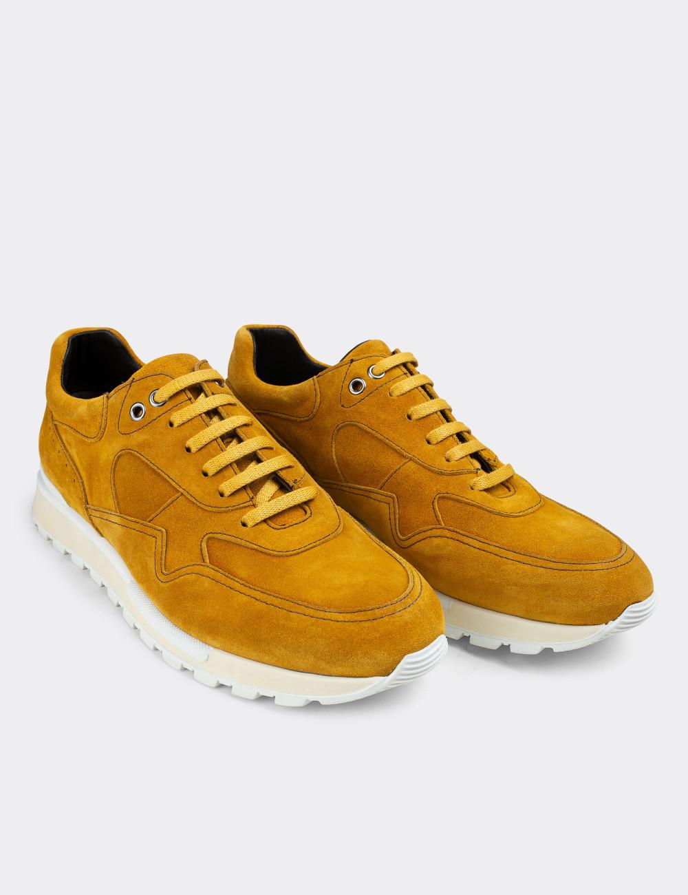 Hakiki Süet Sarı Sneaker Erkek Ayakkabı - 01818MSRIT01