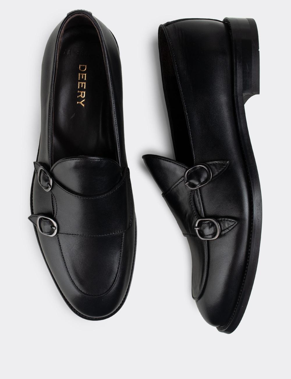 Hakiki Deri Siyah Çift Tokalı Klasik Erkek Loafer - 01844MSYHN01