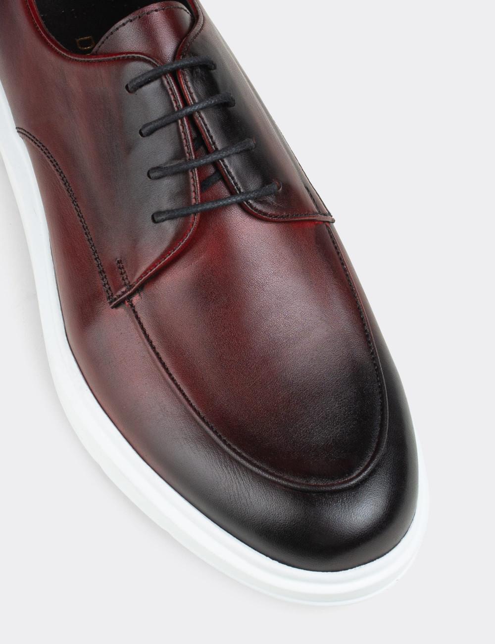 Hakiki Deri Bordo Comfort Günlük Erkek Ayakkabı - 01841MBRDP01