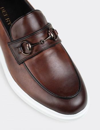 Hakiki Deri Taba Rengi Comfort Toka Detaylı Erkek Loafer