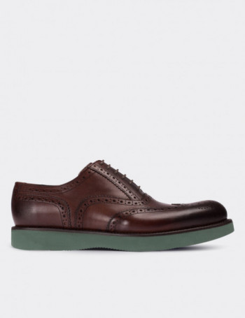 Hakiki Deri Kahverengi Oxford Erkek Ayakkabı