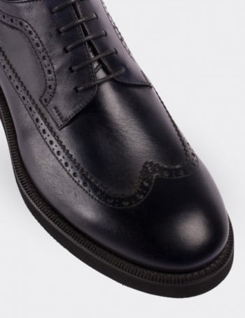 Hakiki Deri Siyah Erkek Günlük Ayakkabı