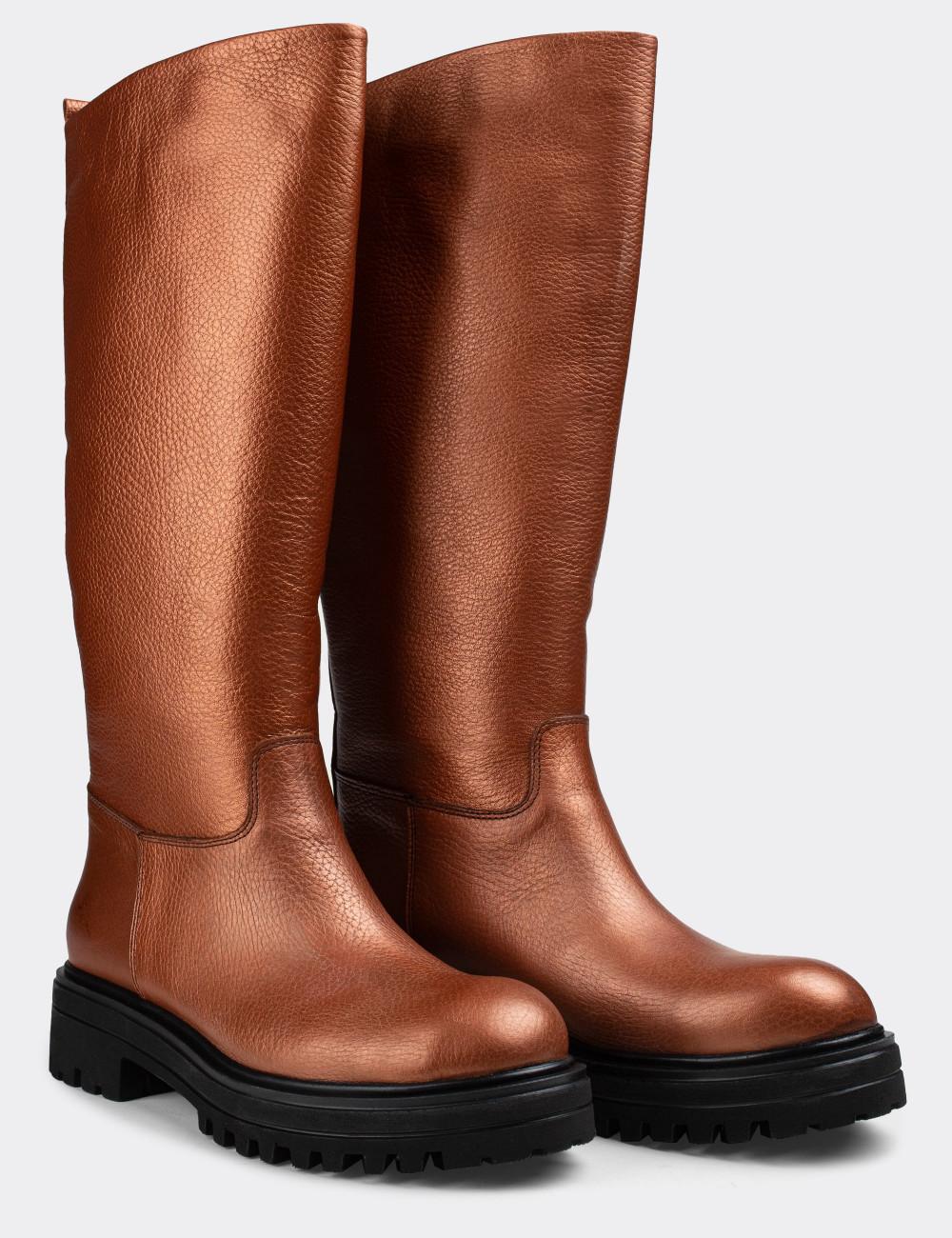 Hakiki Deri Bakır Rengi Kadın Çizme - E1071ZBKRE01