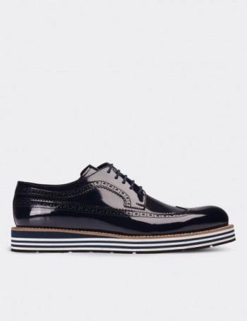 Hakiki Rugan Lacivert Günlük Erkek Ayakkabı