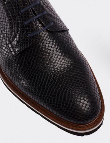 Hakiki Deri Kroko Lacivert Günlük Erkek Ayakkabı