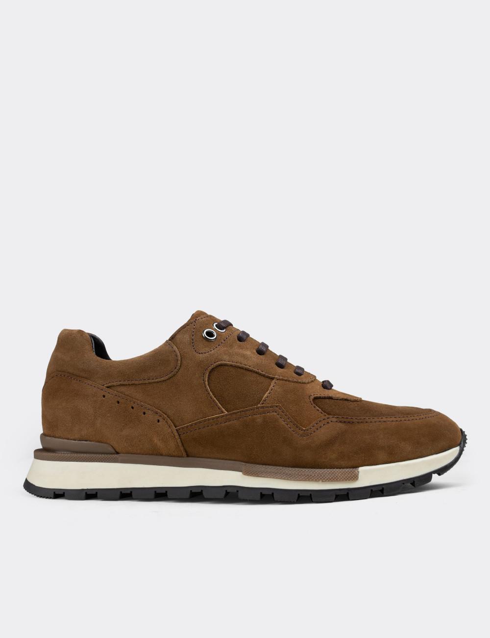 Hakiki Süet Taba Rengi Sneaker Erkek Ayakkabı - 01818MTBAT02