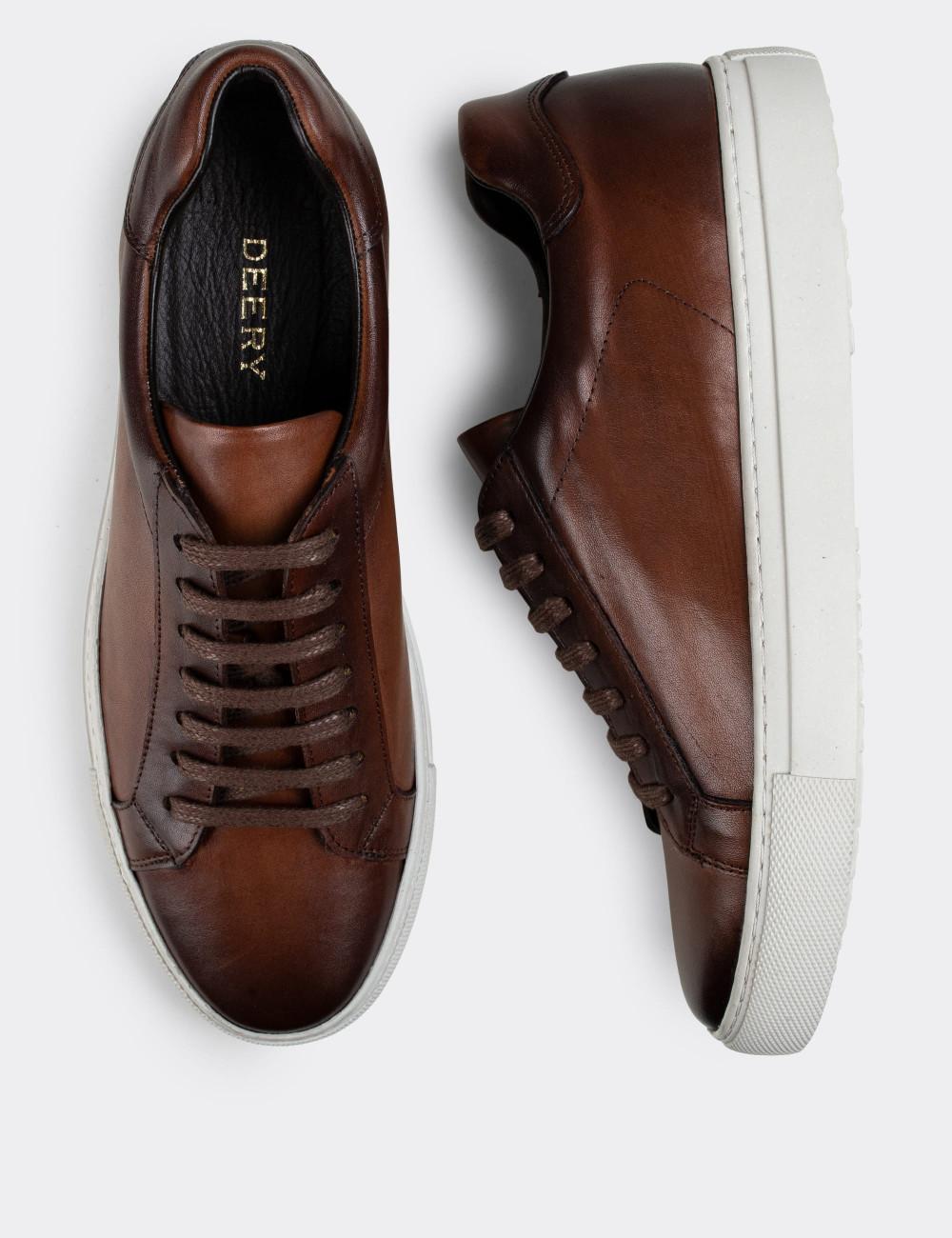 Hakiki Deri Taba Rengi Sneaker Erkek Ayakkabı - 01681MTBAC02