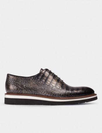 Hakiki Deri Özel Üretim Gri Erkek Ayakkabı