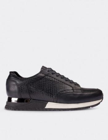 Hakiki Deri Lacivert Kroko Spor Erkek Ayakkabı